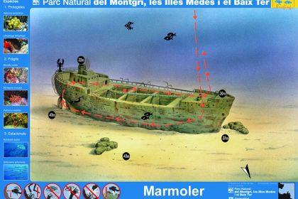 Punto de buceo barco hundido Marmoler (Avvenire) en la Costa del Montgrí
