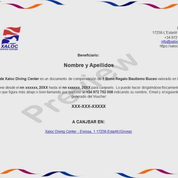Xaloc Bono Regalo Bautismo Buceo voucher preview