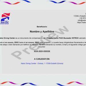 Xaloc Bono Regalo Curso PADI Buceador Nitrox voucher preview